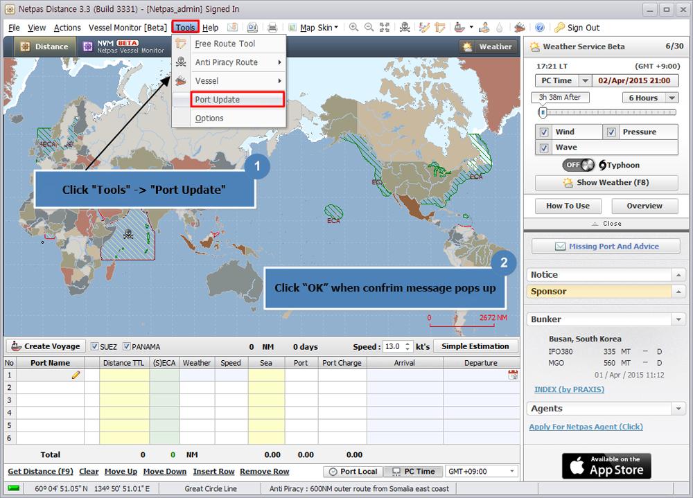 NETPAS - Smart port distance table